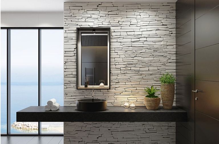 can stacked stone tile be used in the bathroom