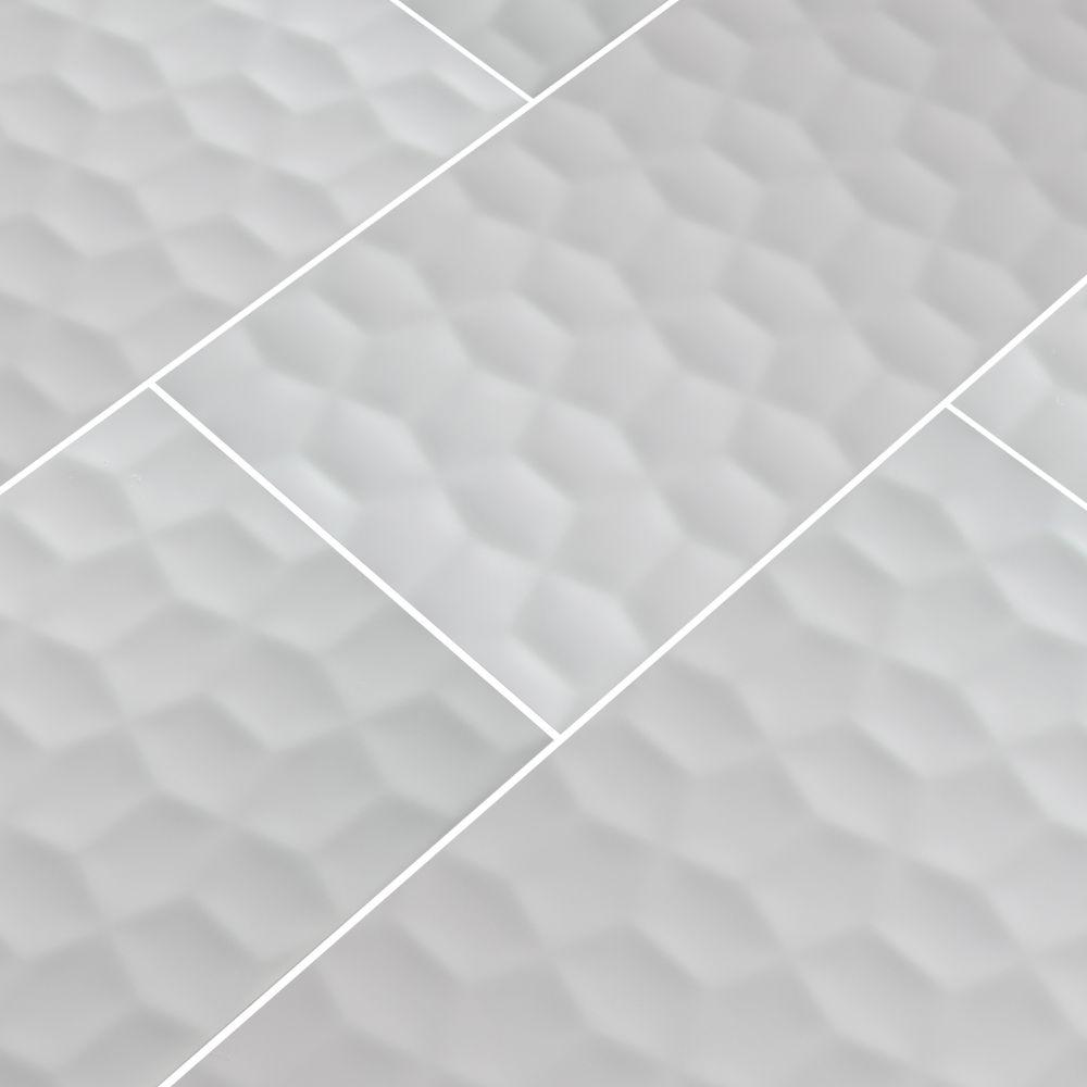 Adella Viso White 12X24 Satin 3D Matte Ceramic Tile