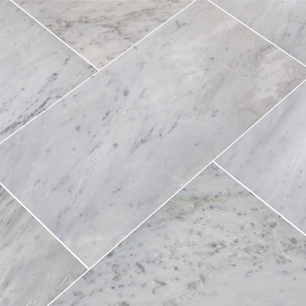 Arabescato Carrara 12x24 Polished Marble Tile Floor