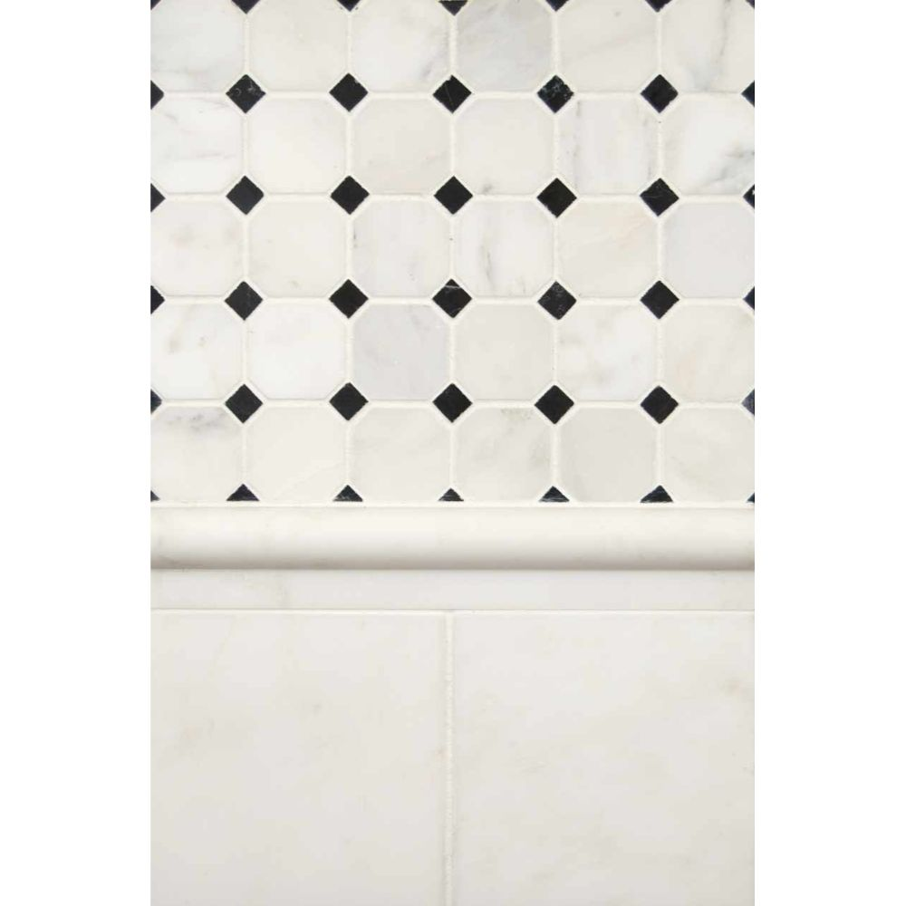 Arabescato Carrara Rail Molding 1x2x12 Honed