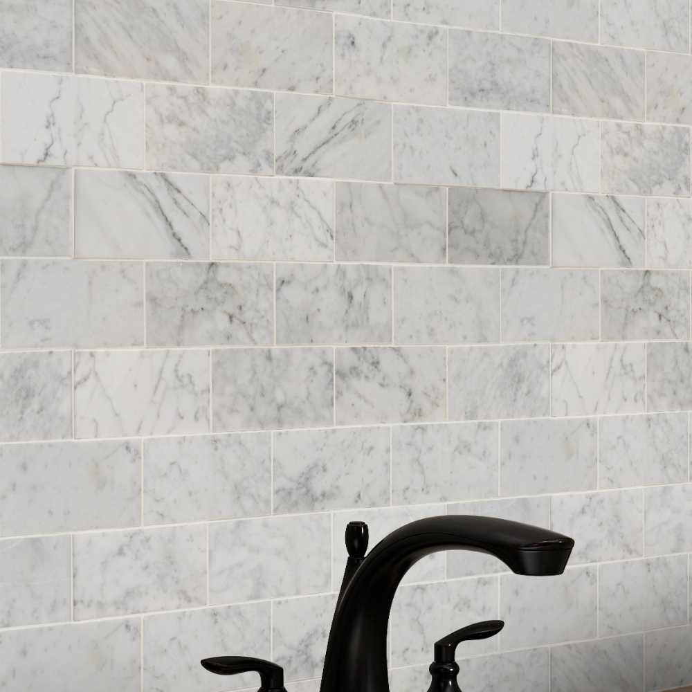 Carrara White 3x6 Honed Subway Marble Tile