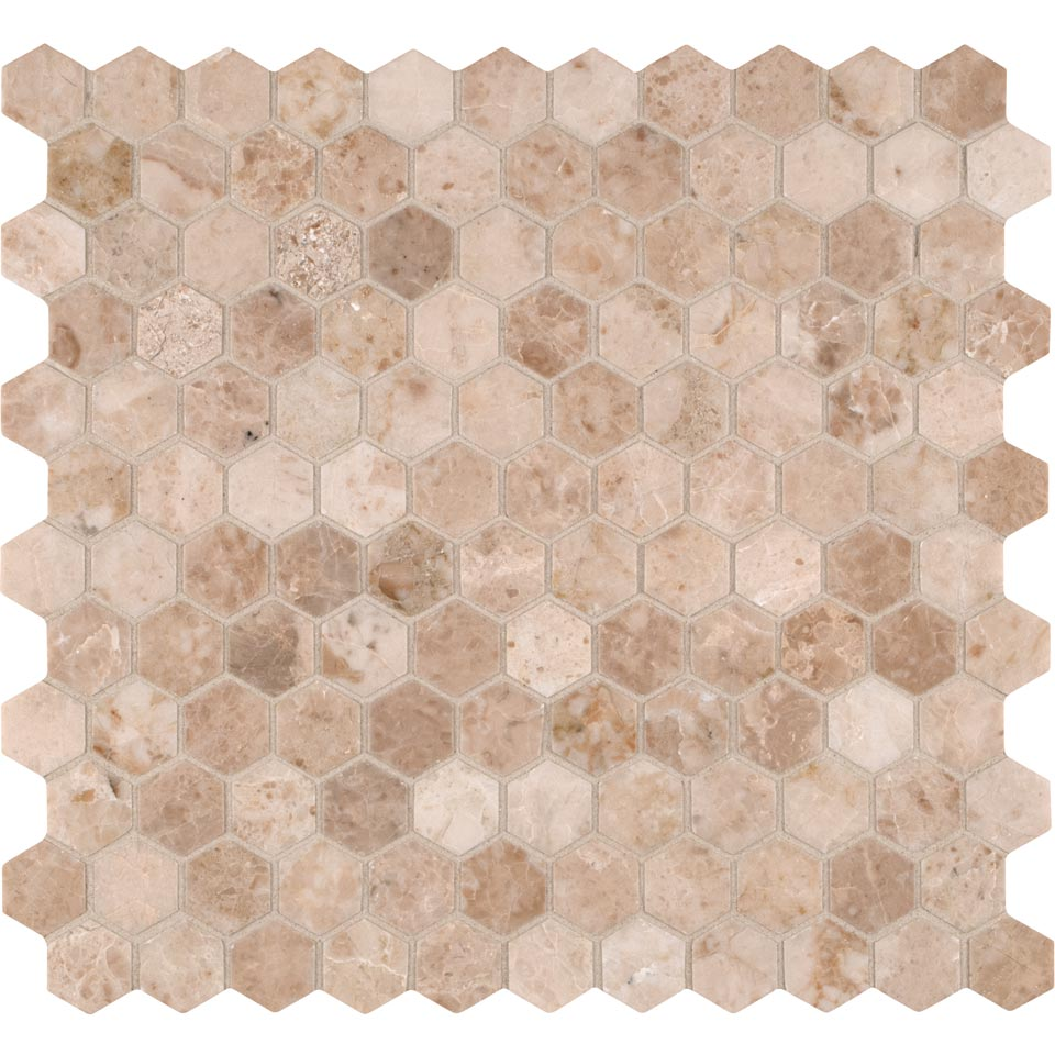 Crema Cappuccino Hexagon 1x1 Polished Mosaic