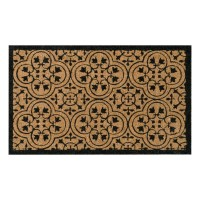 Encaustic Black Natural Coir 18X30 Door Mat