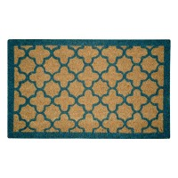 Quatrefoil Blue Natural Coir 22X36 Door Mat
