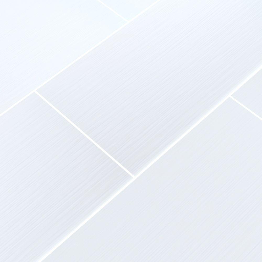 Dymo Stripe White 12X24 Glossy Ceramic Tile