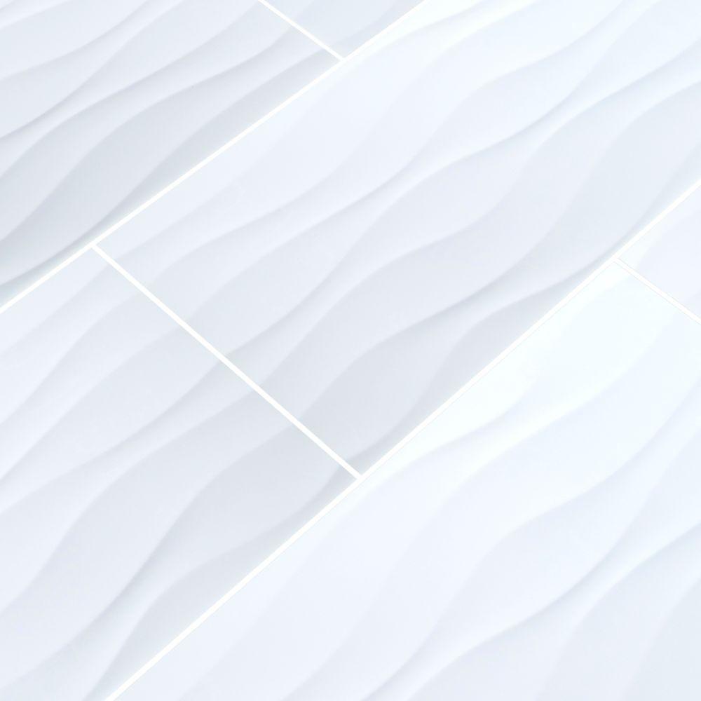 Dymo Wavy White 12X24 Glossy Ceramic Tile