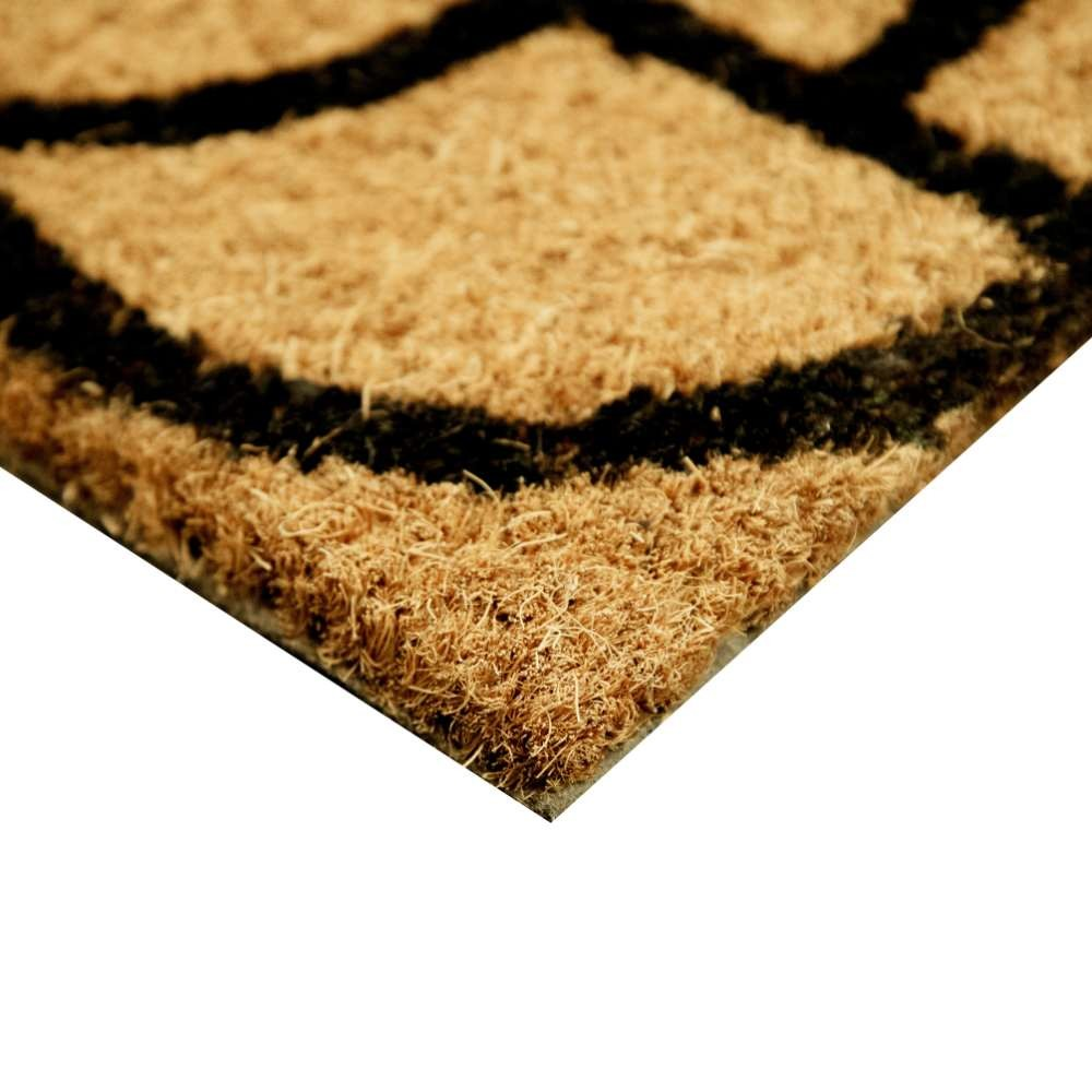 Geometric Black Natural Coir 22X36 Door Mat
