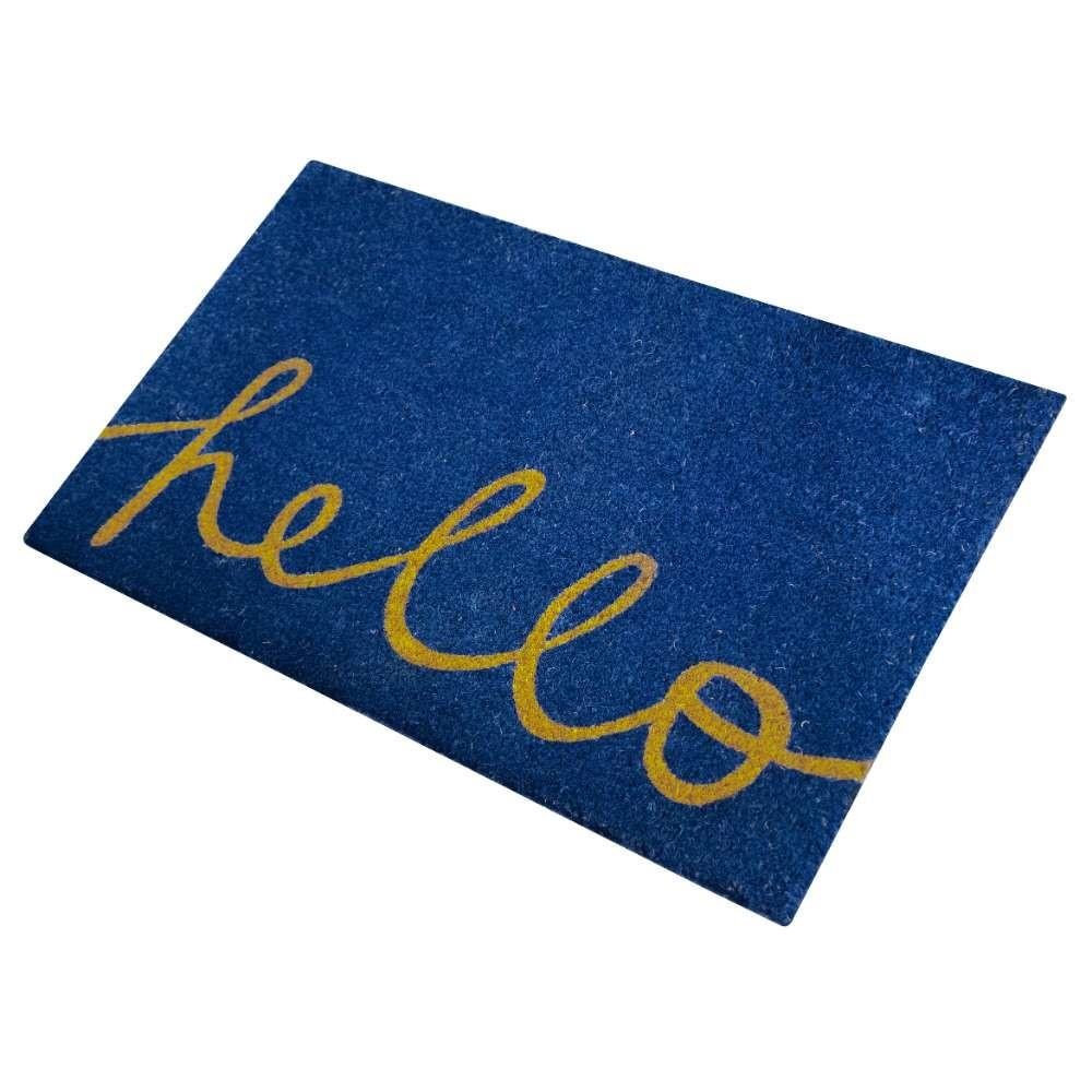 Hello Blue Natural Coir 22X36 Door Mat