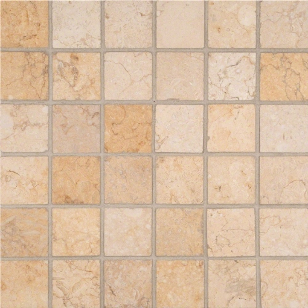 Luxor Gold 2x2 Honed in 12x12 Mesh Mosaic