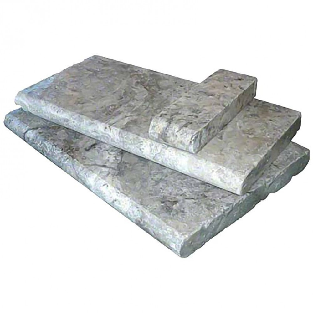 Silver Travertine 6X12 Tumbled One Short Side Bullnose Pool Coping