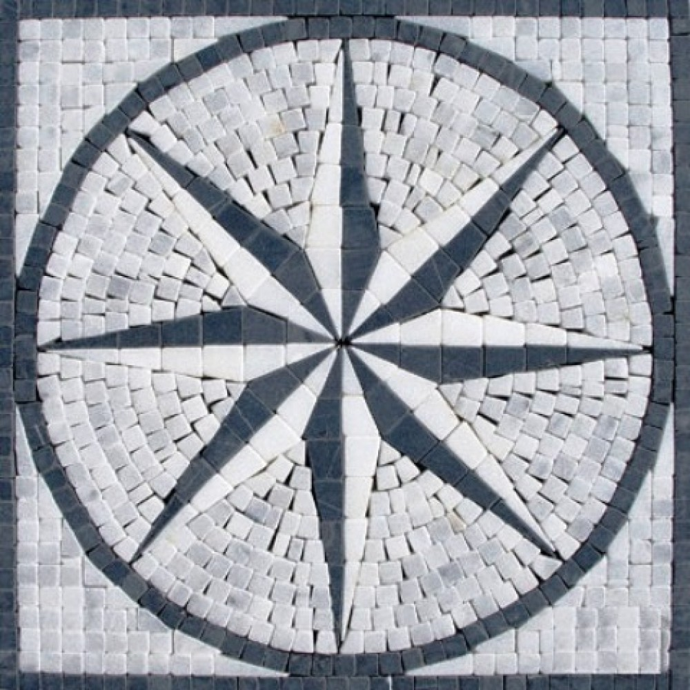 Black/White Star Medallion 12x12 Tumbled