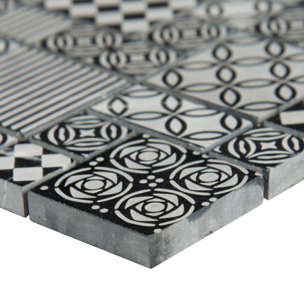 Tetris Nero Pattern Honed Marble Mosaic