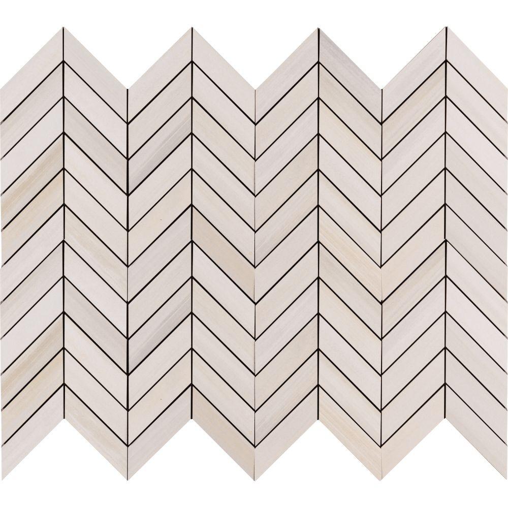 Watercolor Bianco 12x15 Chevron Mosaic