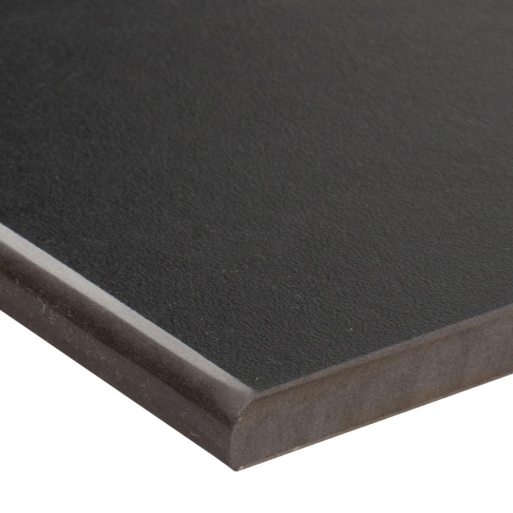 Domino Black Bullnose 4x24 Matte Porcelain Tile