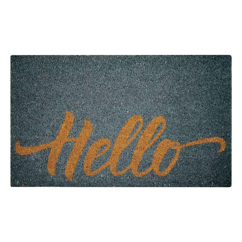 Hello Gray Natural Coir 22X36 Door Mat