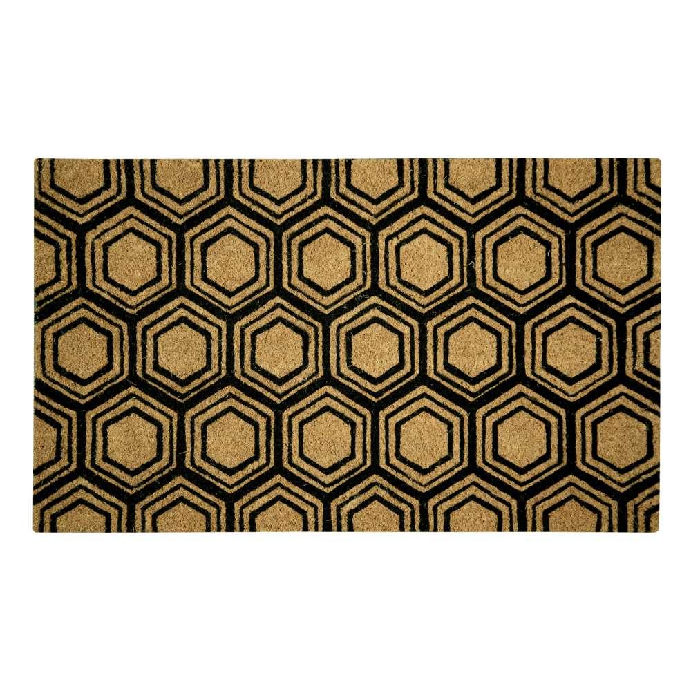 Hexagon Black Natural Coir 18X30 Door Mat