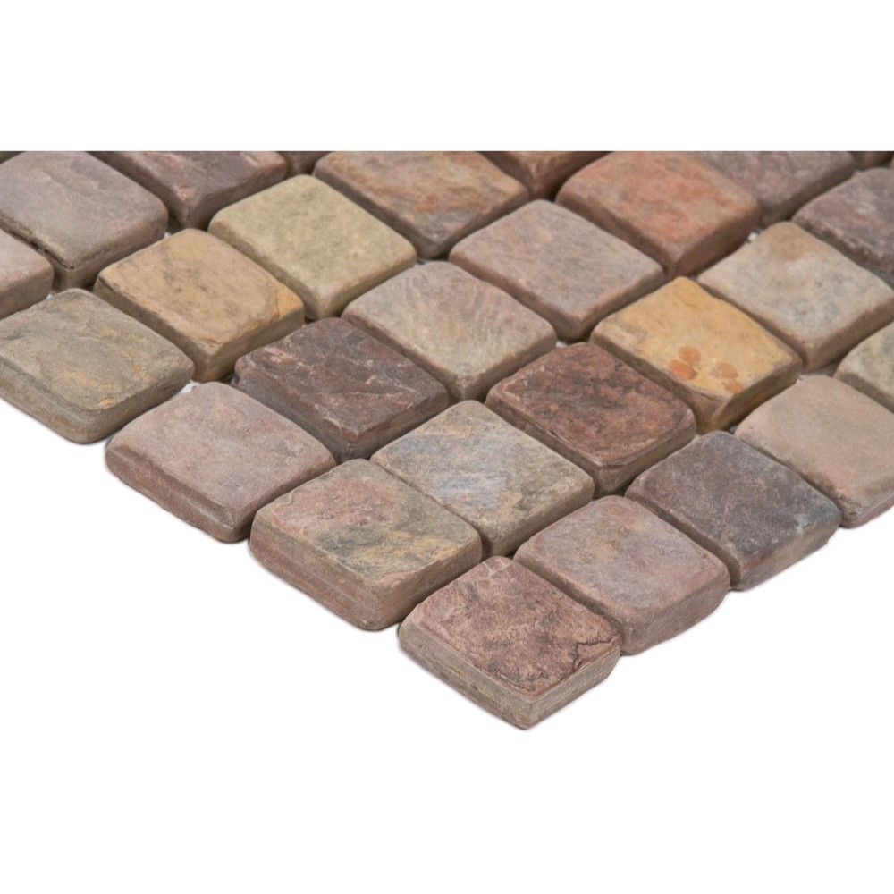 Mixed Slate 2x2 Mosaic Tumbled Backsplash Tile