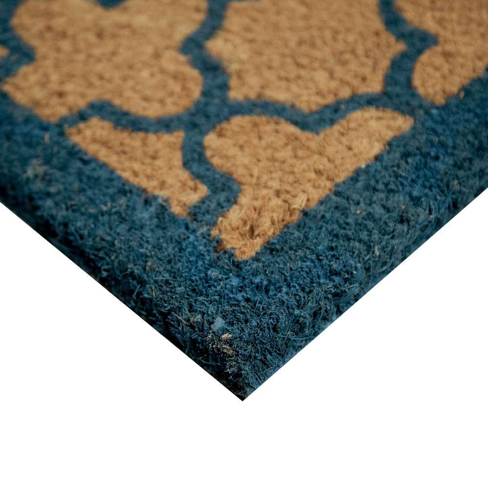 Quatrefoil Blue Natural Coir 18X30 Door Mat