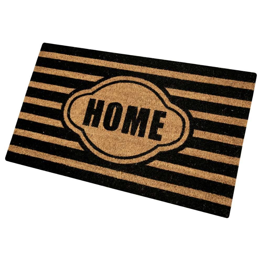 Stripe Home Black Natural Coir 22X36 Door Mat