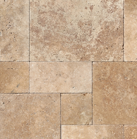 Tuscany Walnut 16 Sft Honed Unfilled Chiseled Brushed French Pattern Tile